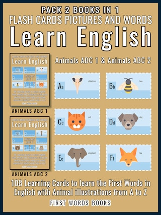 Pack 2 Books in 1 - Animals ABC 1 and Animals ABC 2 - Flash Cards Pictures and Words Learn English